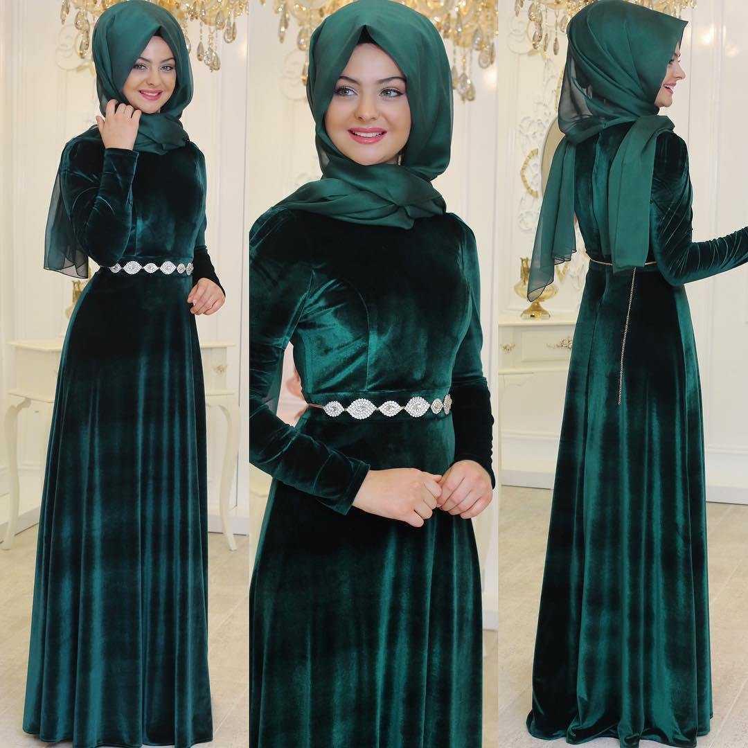 Pınar Şems Tesettür Kadife Abiye Elbise Modelleri