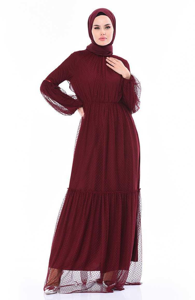 Sefamerve Tesettür Büzgülü Abiye Elbise Modelleri