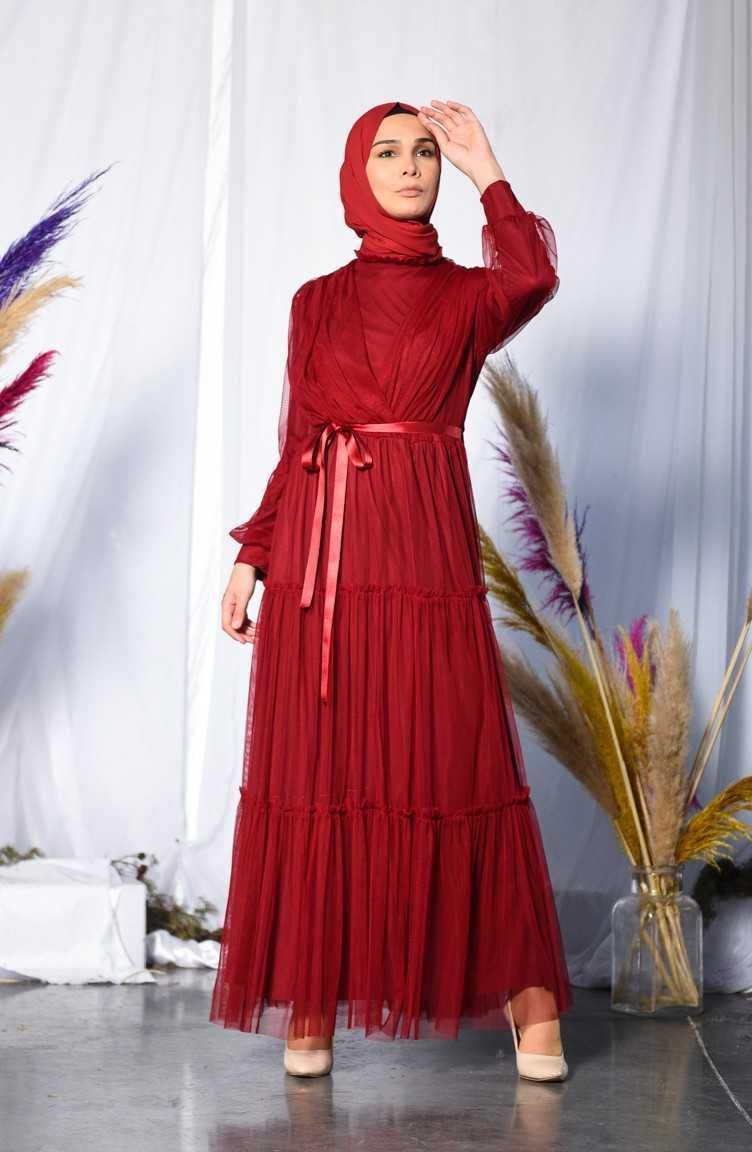 Sefamerve Tesettür Büzgülü Tül Abiye Elbise Modelleri