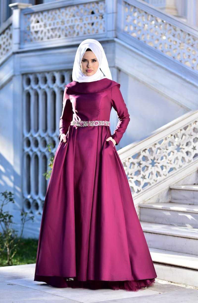 Sefamerve Tesettür Taşlı Tafta Abiye Elbise Modelleri