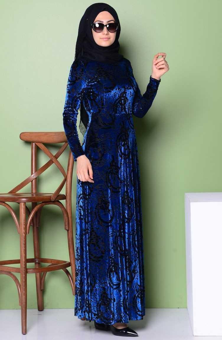 Sefamerve Tesettür Yakma Kadife Abiye Elbise Modelleri