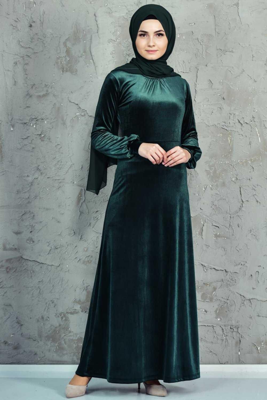 Sefamerve Tesettür Yeşil Kadife Abiye Elbise Modelleri