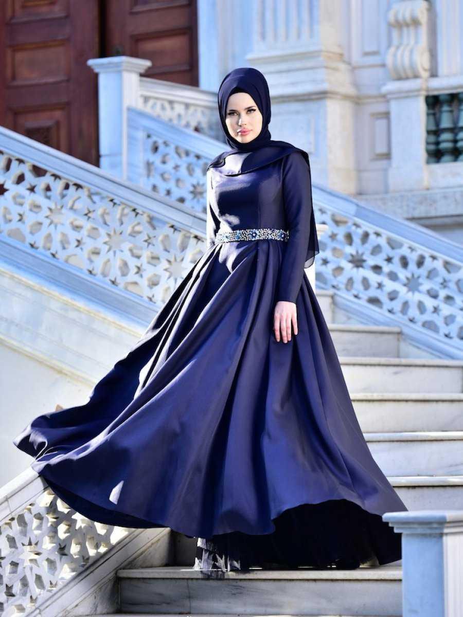 Tesettür Tafta Abiye Elbise Modelleri