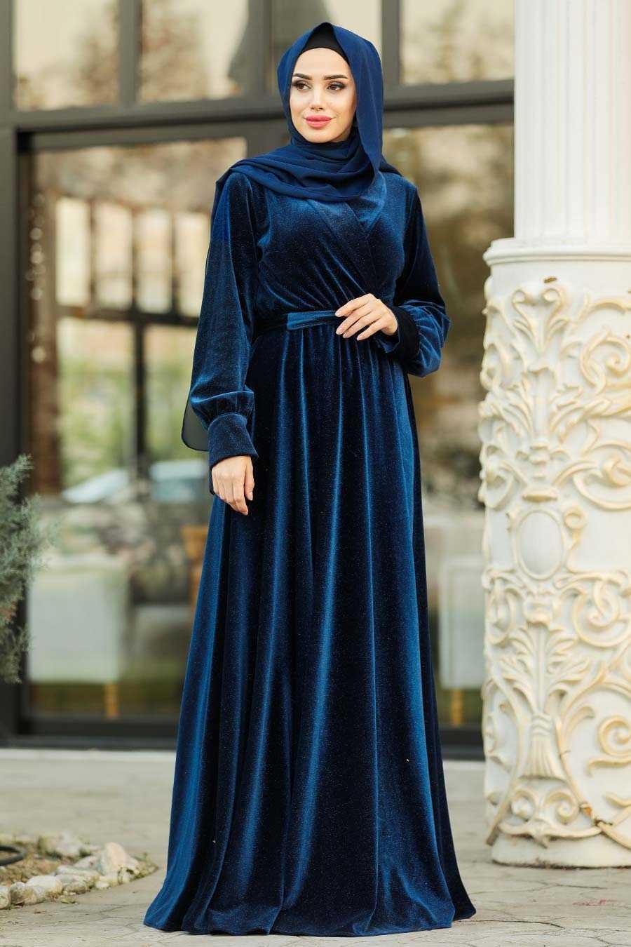 Tesettürlü Abiye Elbiseler Kadife Modelleri