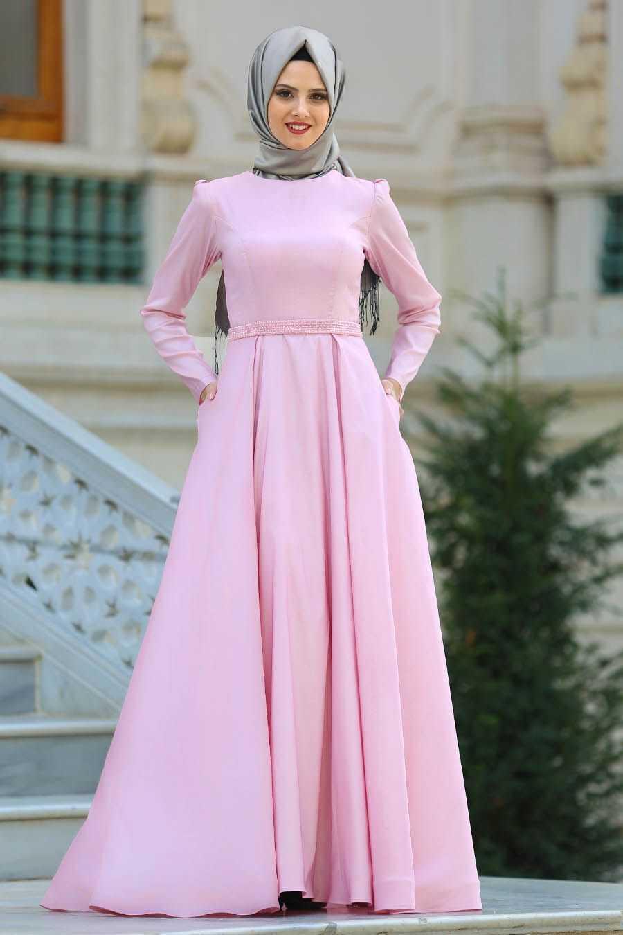 Tuay Tesettür Açık Renk Tafta Abiye Elbise Modelleri