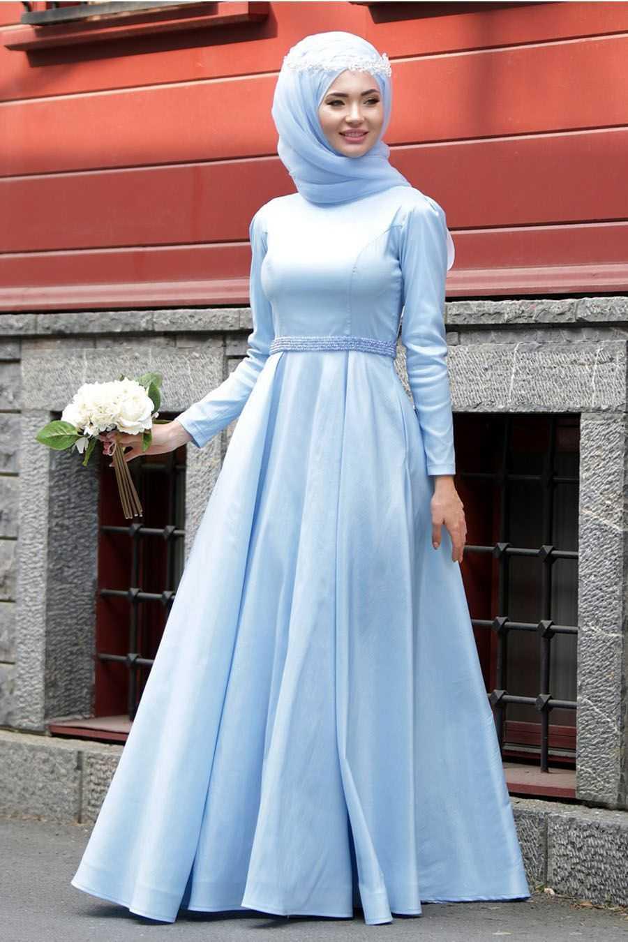 Tuay Tesettür Bebe Mavisi Tafta Abiye Elbise Modelleri