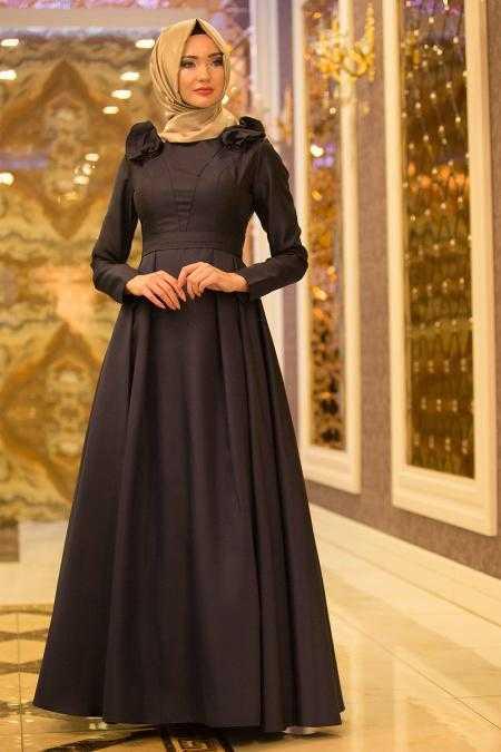 Tuay Tesettür Omuzları Büzgülü Şık Abiye Elbise Modelleri