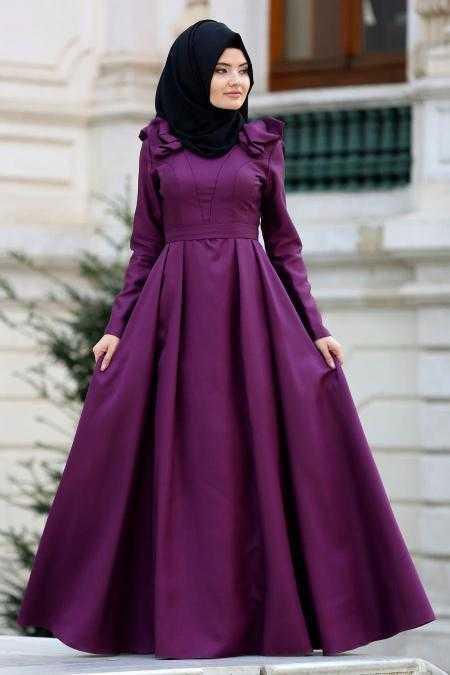 Tuay Tesettür Omuzları Büzgülü Abiye Elbise Modelleri