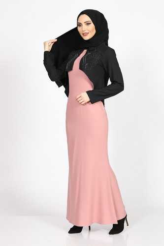 Burcu Tesettür Bolerolu Abiye Elbise Modelleri