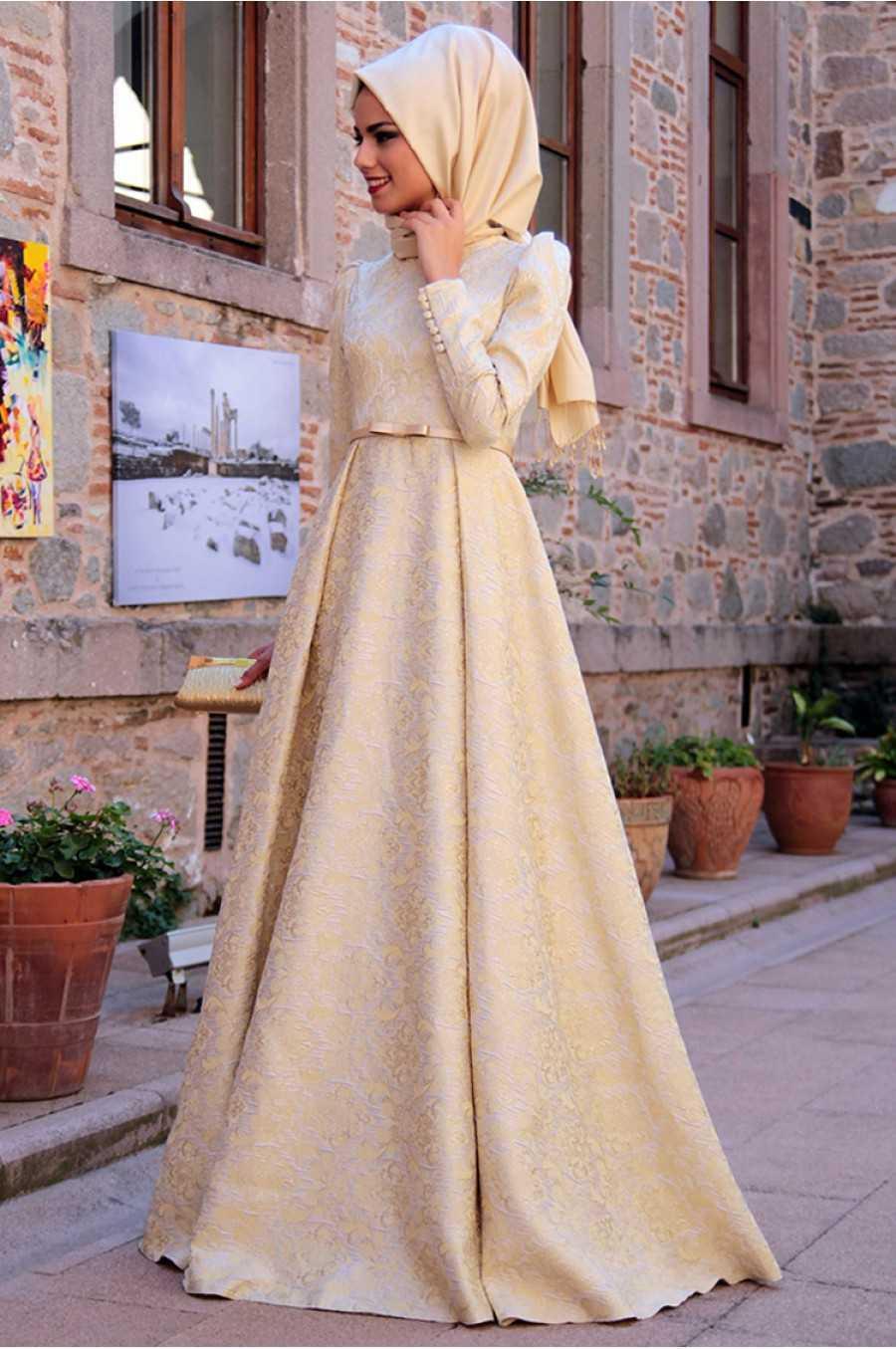 Mevra Tesettür Brokar Elbise Modelleri