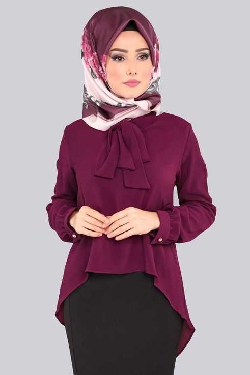 Moda Selvim Tesettür Fularlı Bluz Gömlek Modelleri