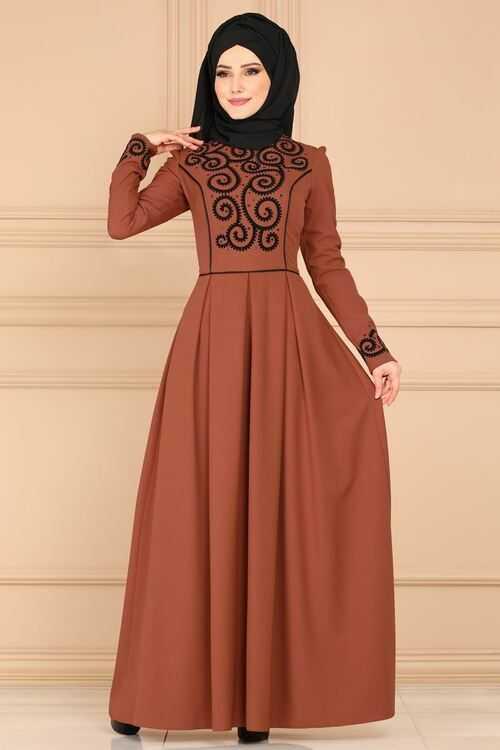 Moda Selvim Tesettür Flok Baskılı Modern Elbise
