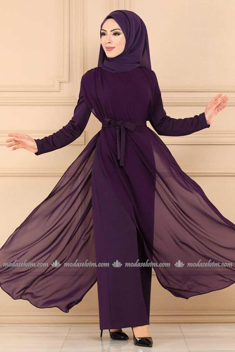 Moda Selvim Tesettür Şifon Pelerinli Tulum Modelleri