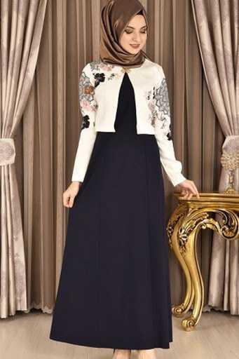 Modamerve Tesettür Bolerolu Elbise Modelleri
