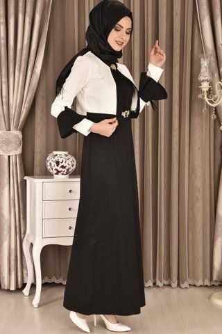 Modamerve Tesettür Broşlu Bolerolu Elbise Modelleri