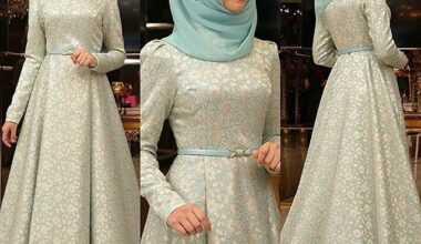 Tesettür Brokar Elbise Modelleri