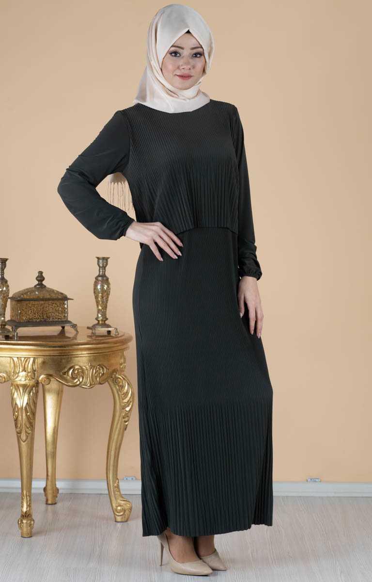 Tesettür Pazarı Piliseli Bolerolu Elbise Modelleri