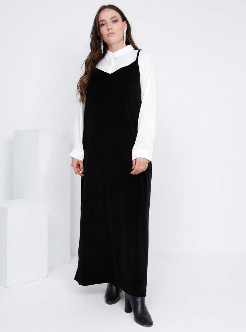Alia Askılı Şık Kadife Elbise Modelleri