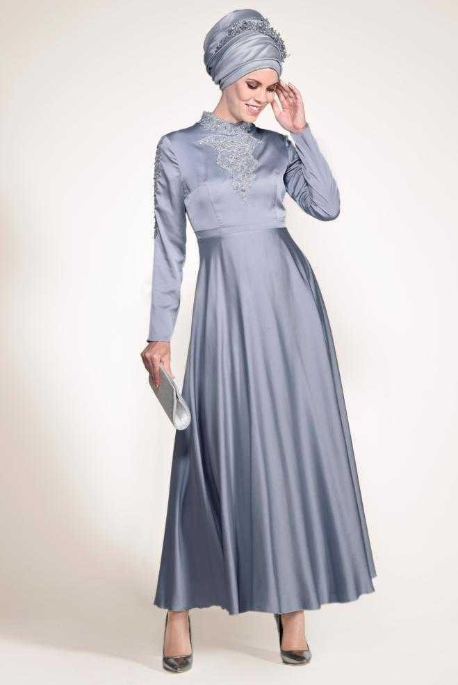 Alvina Tesettür Nakışlı Abiye Elbise Modelleri