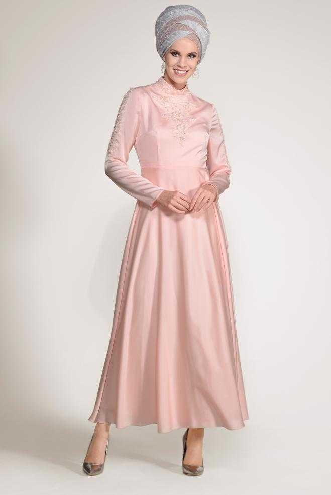 Alvina Tesettür Nakışlı Pudra Abiye Elbise Modelleri