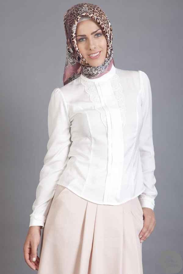Armine Tesettür Beyaz Gömlek Modelleri