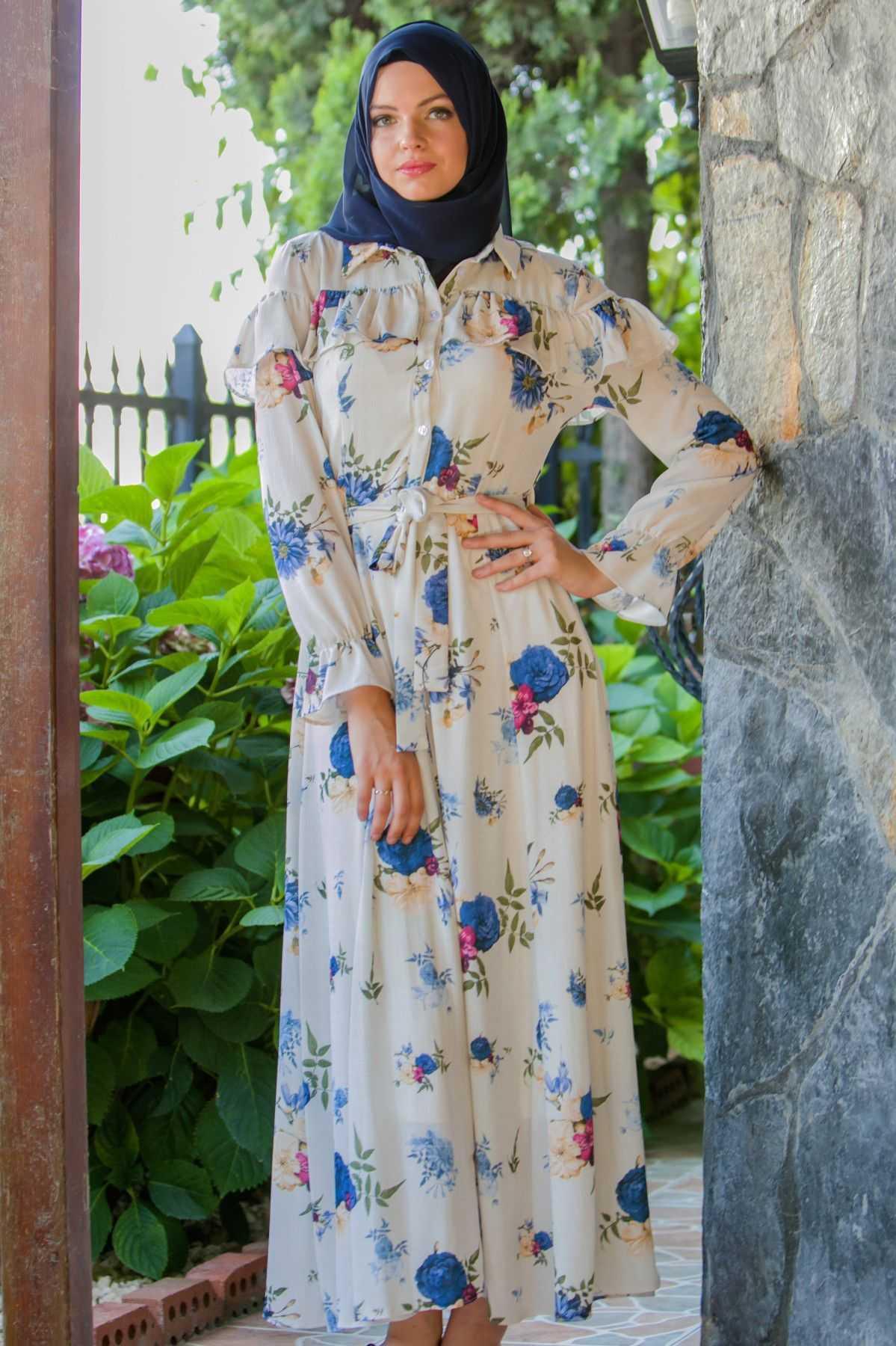 Çiçek Desenli Tesettür Yazlık Elbise Modelleri