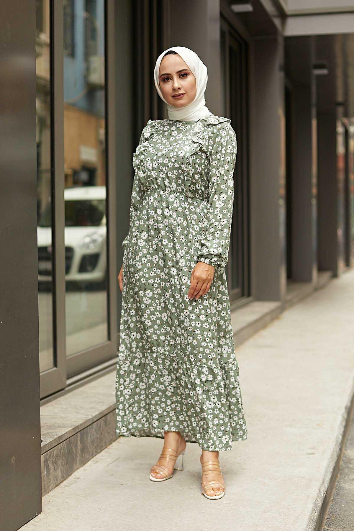 Eliza Moda Tesettür Çiçek Desenli Yazlık Elbise Modelleri