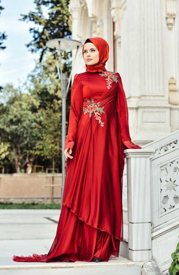 En Güzel Sefamerve Tesettür Nakışlı Abiye Elbise Modelleri