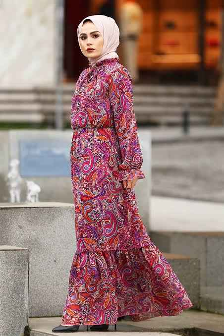En Güzel Tesettür Viskon Elbise Modelleri