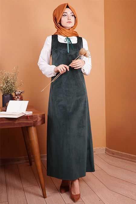Gamze Özkul Şık Tesettür Askılı Kadife Elbise Modelleri