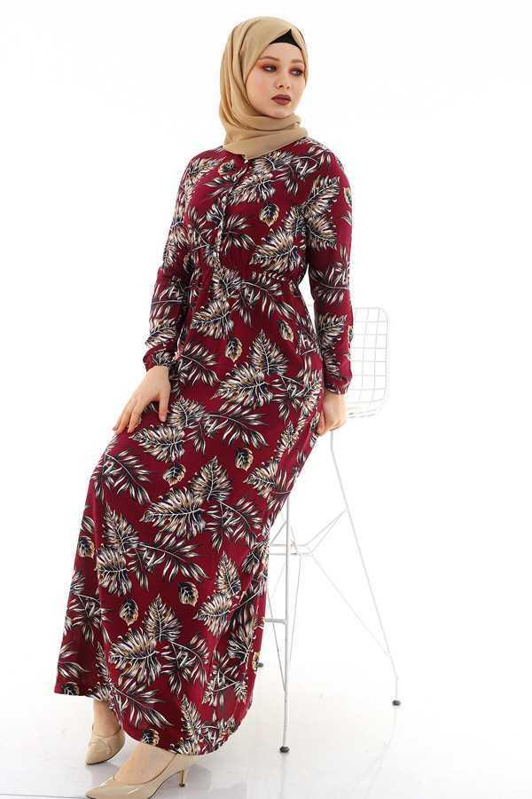 Moda Berfu Çiçek Desenli Tesettür Viskon Elbise Modelleri