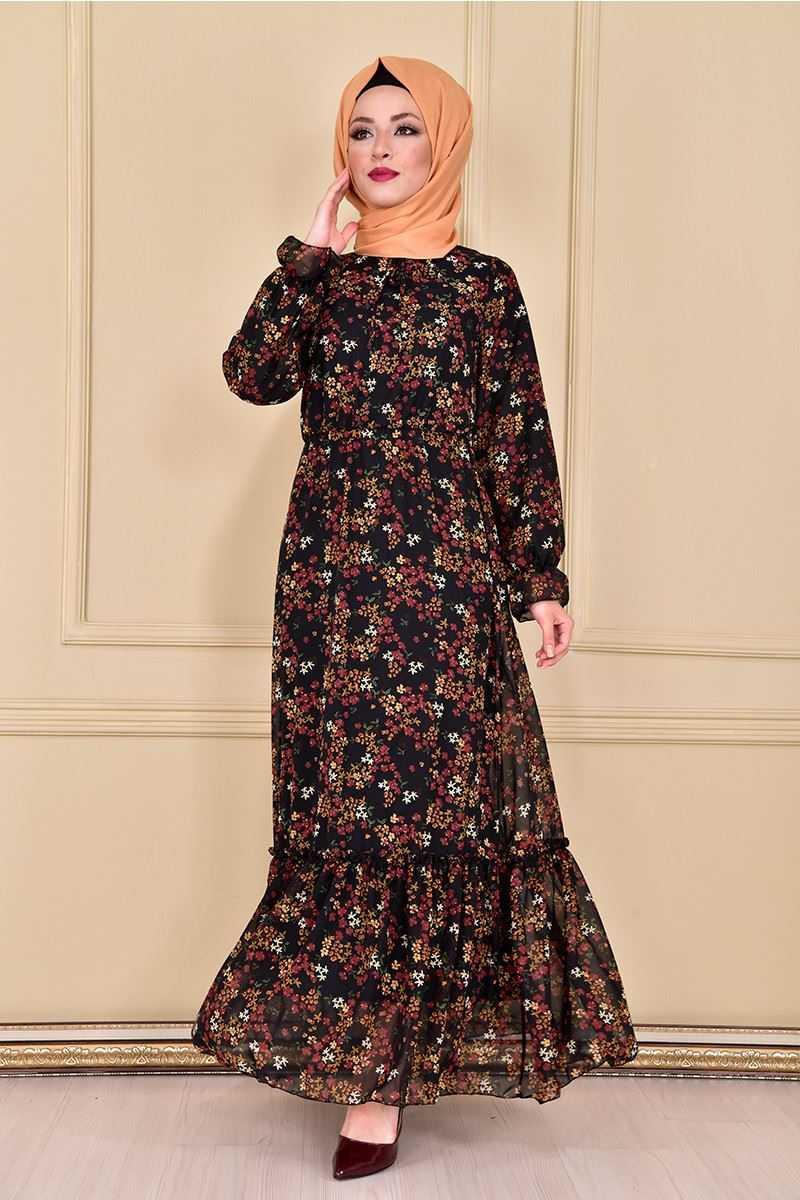 Modamerve Tesettür Çiçekli Yazlık Elbise Modelleri