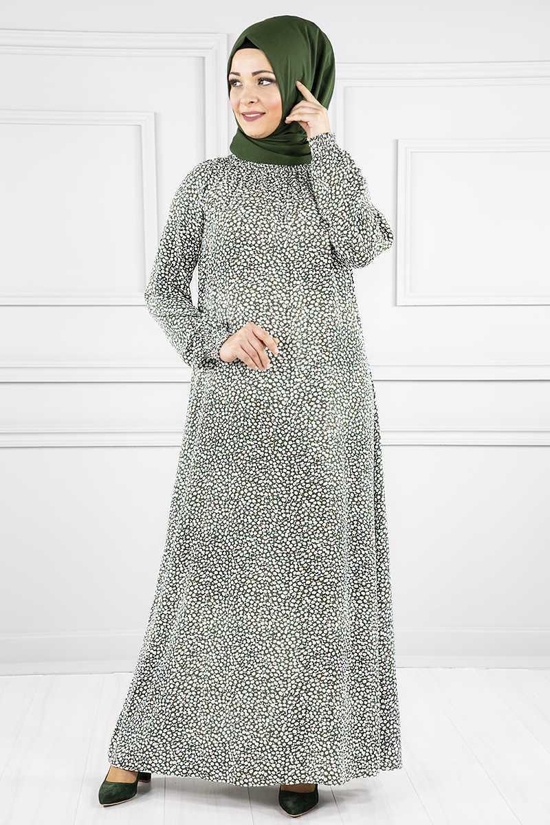 Modanoiva Tesettür Desenli Viskon Elbise Modelleri