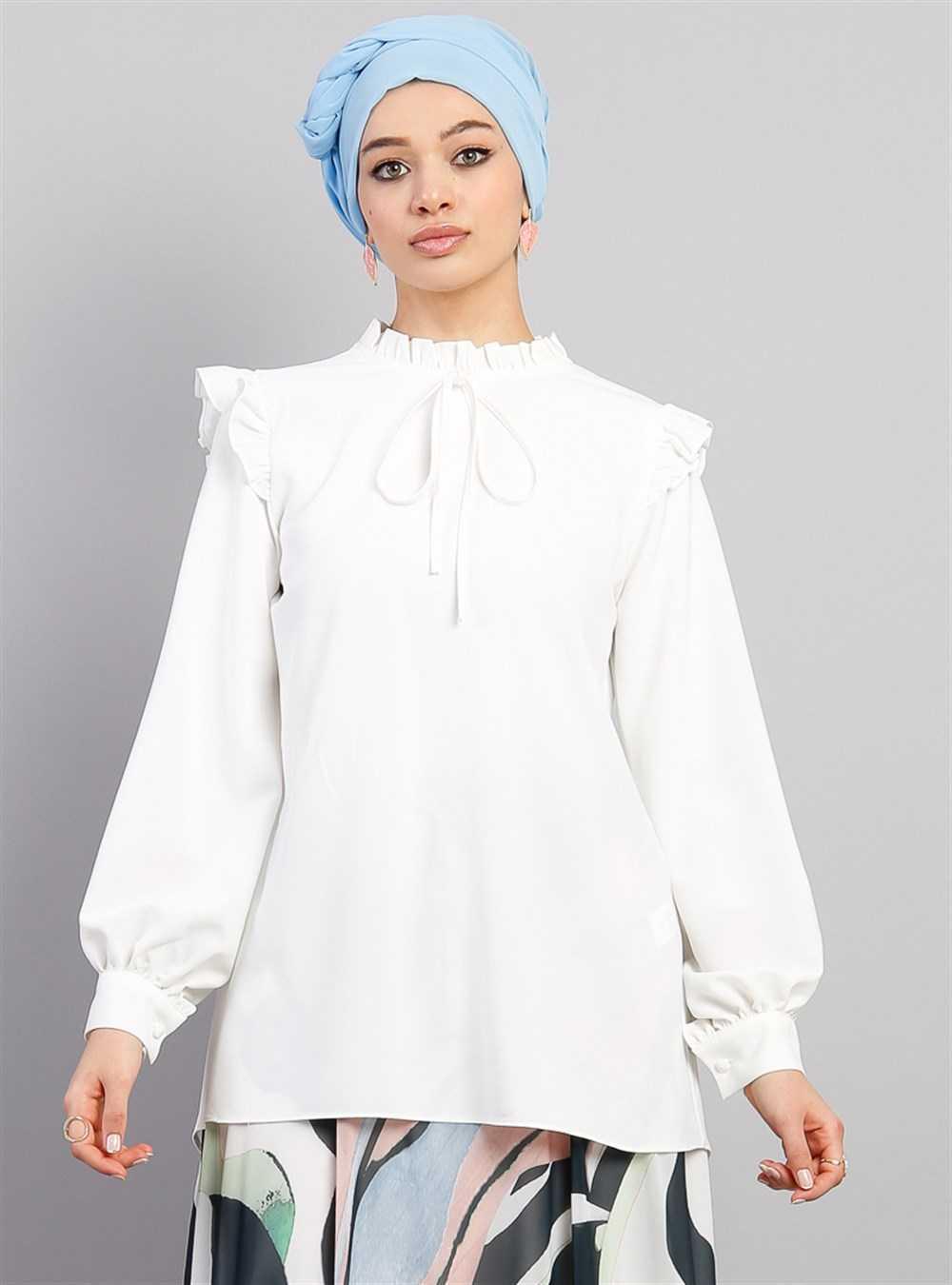 Modesty Tesettür Fırfırlı Bluz Modelleri