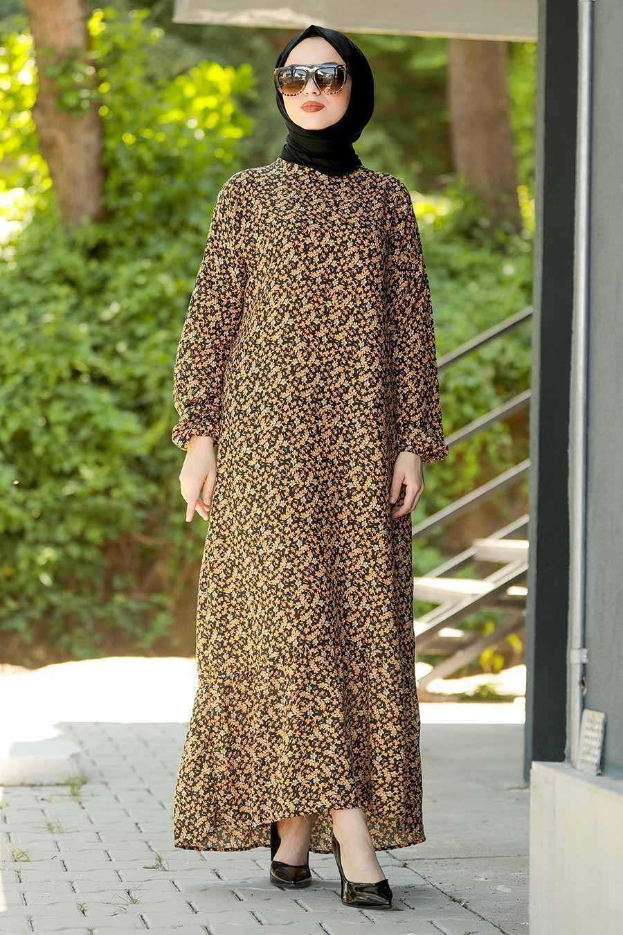 Neva Style Tesettür Desenli Viskon Elbise Modelleri