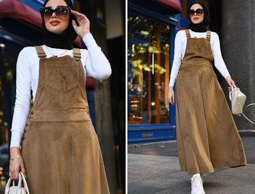 Neways Tesettür Askılı Kadife Elbise Modelleri