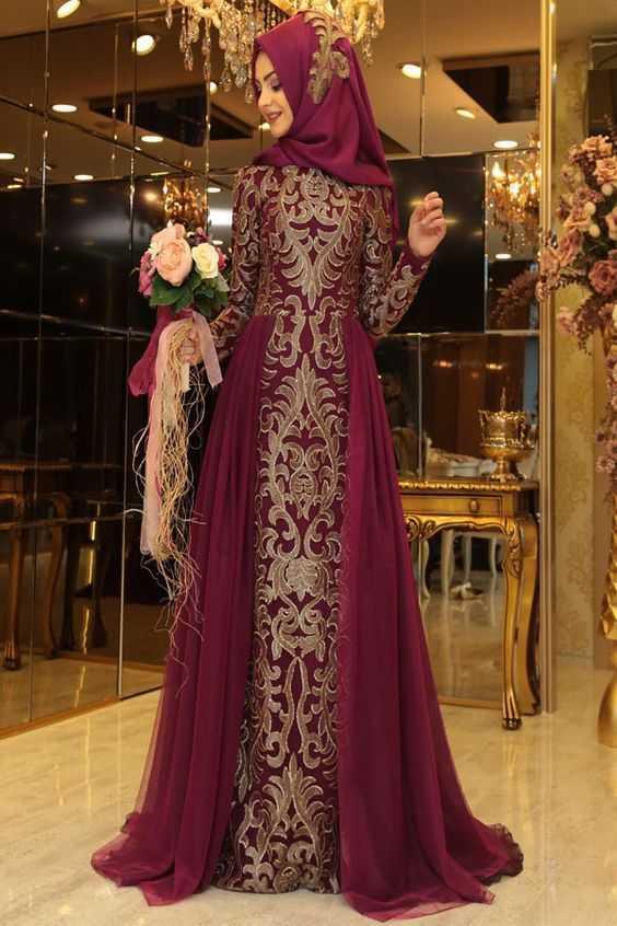 Pınar Şems Tesettür Nakışlı Abiye Elbise Modelleri