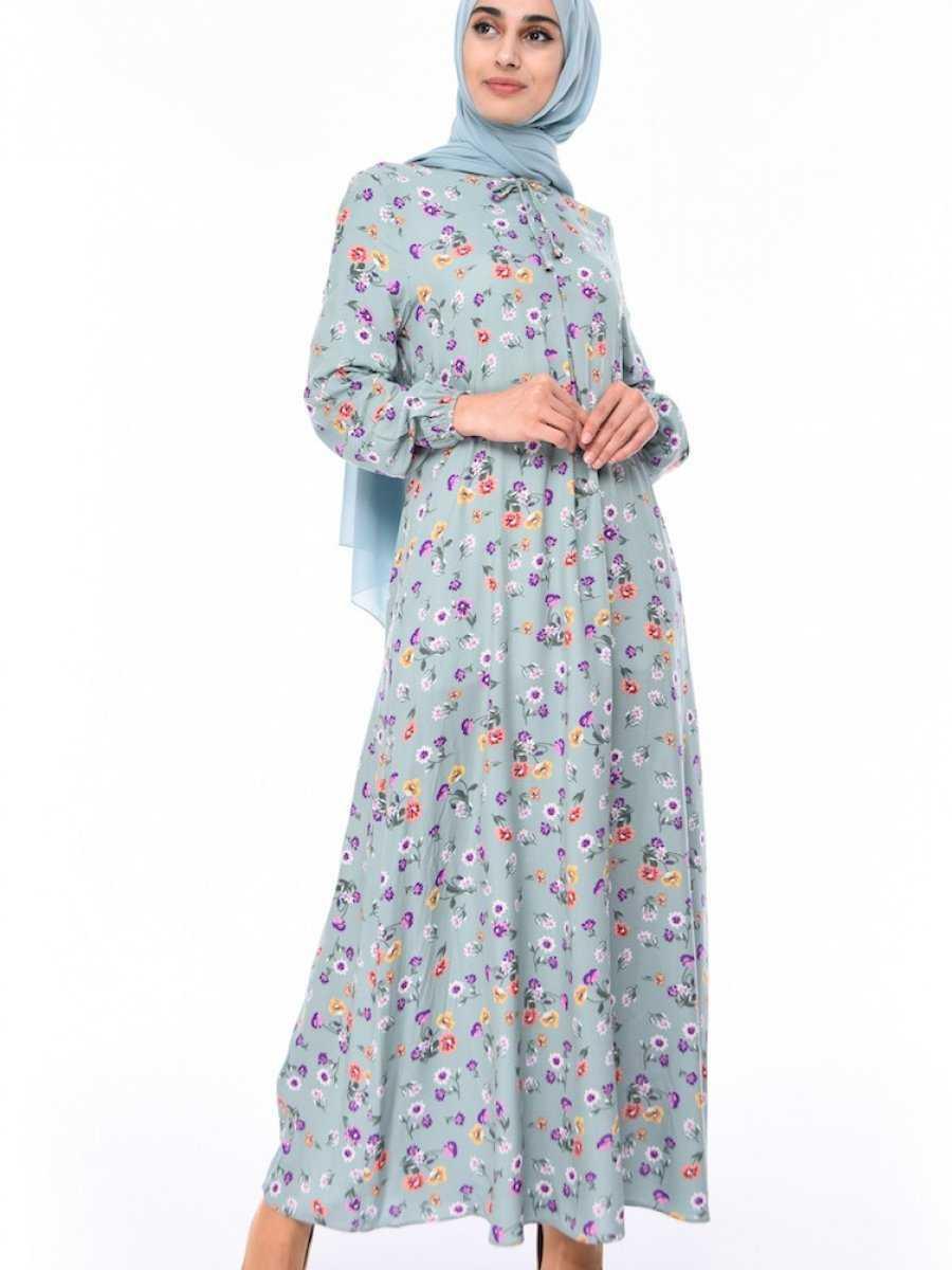 Sefamerve Çiçek Desenli Tesettür Viskon Elbise Modelleri