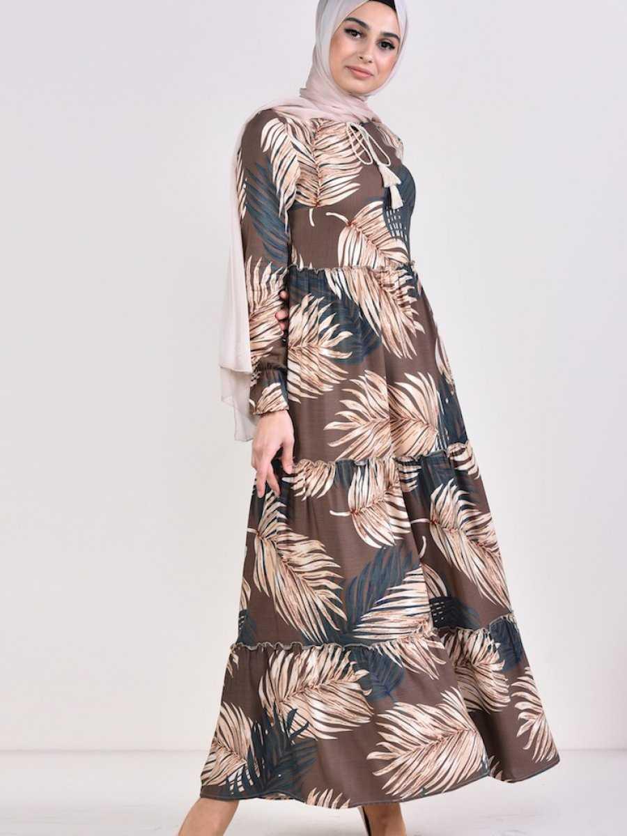 Sefamerve Tesettür Çiçekli Viskon Elbise Modelleri