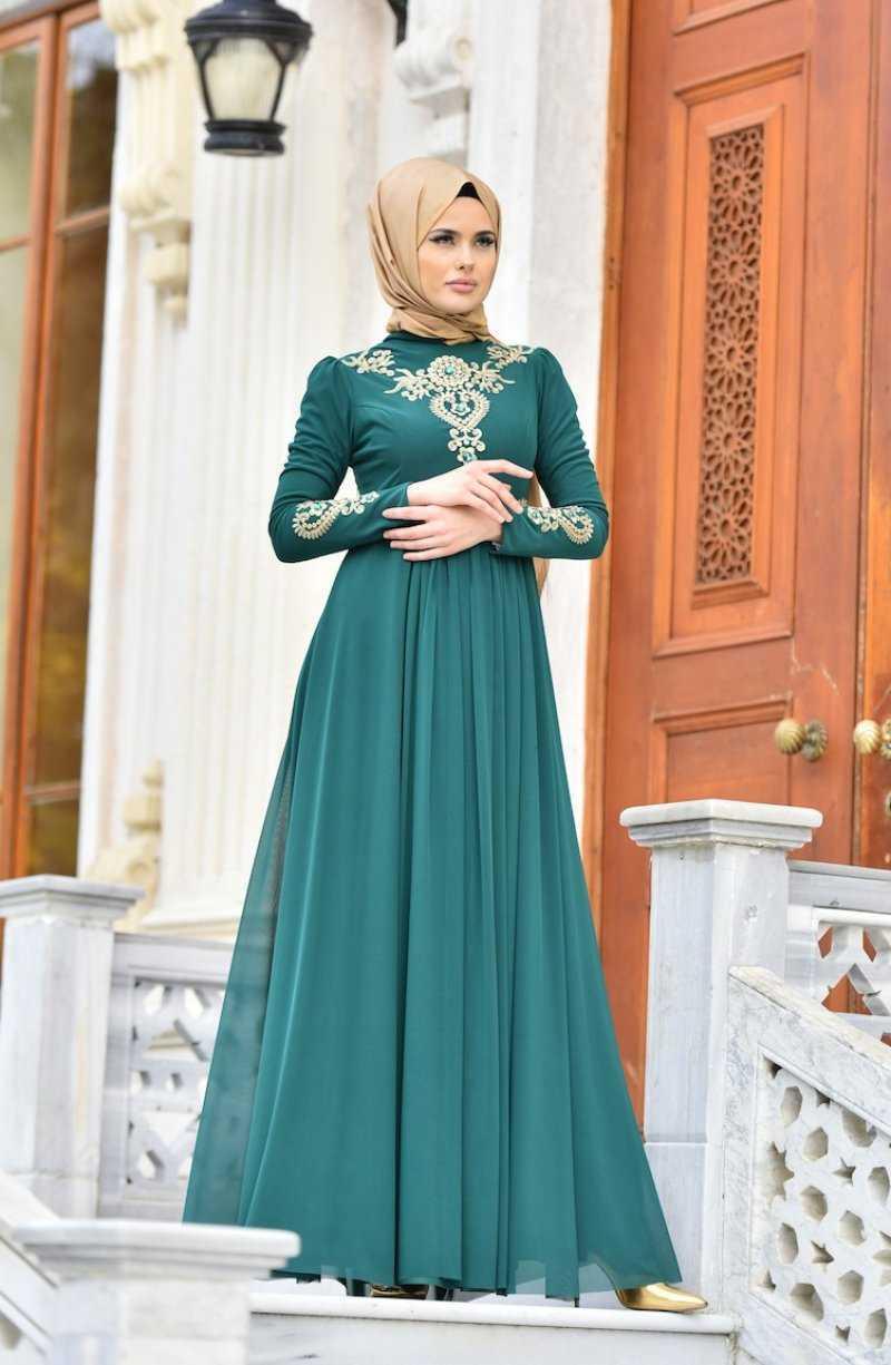 Sefamerve Tesettür Nakışlı Abiye Elbise Modelleri