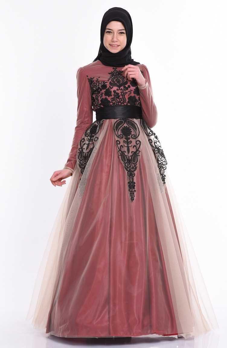 Sefamerve Tesettür Nakışlı Tül Abiye Elbise Modelleri