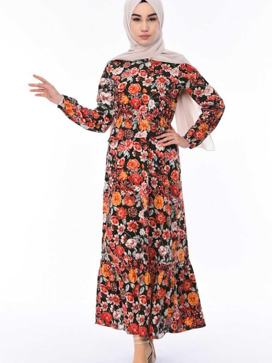 Sefamerve Tesettür Yazlık Çiçekli Elbise Modelleri