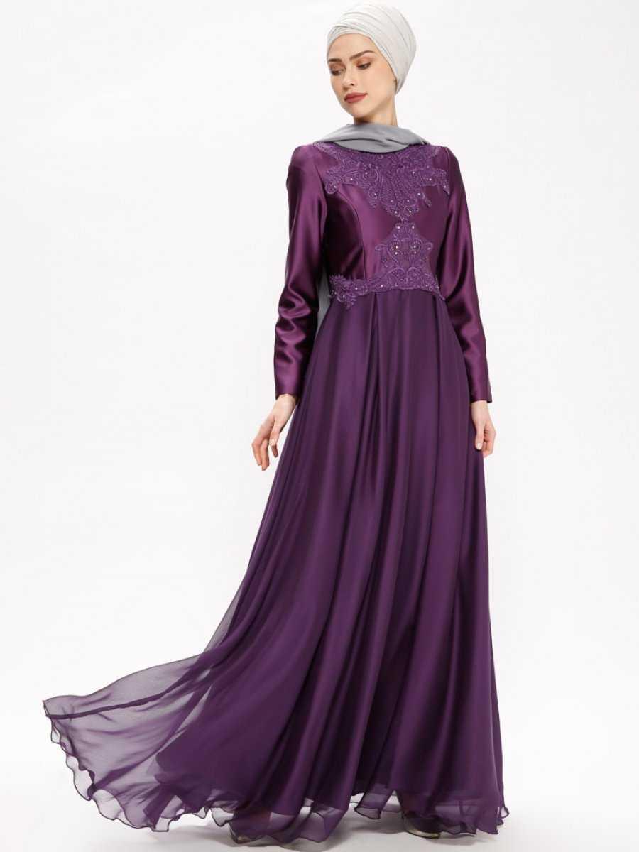 Tuğba Tesettür Nakışlı Abiye Elbise Modelleri