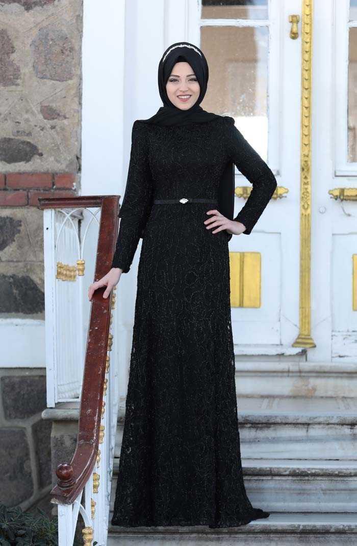 Al Marah Tesettür Siyah Abiye Modelleri