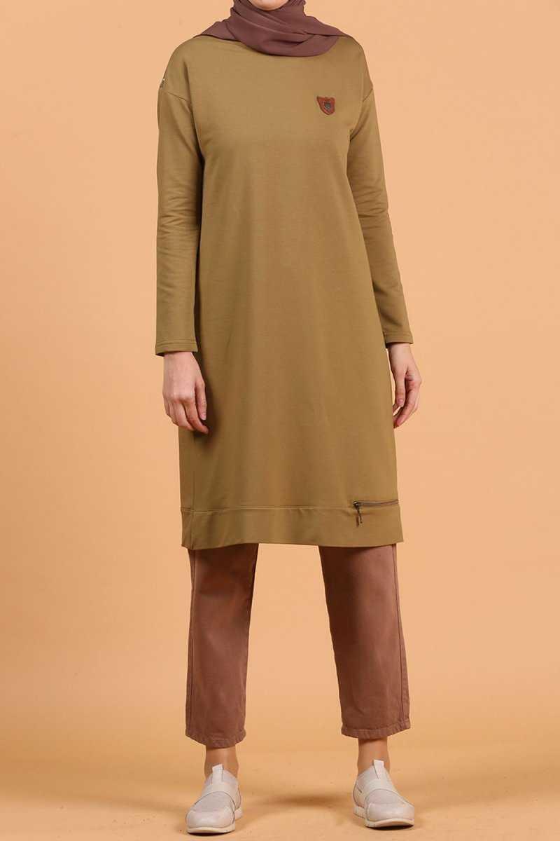 Allday Yağ Yeşili Tesettür Penye Tunik Modelleri