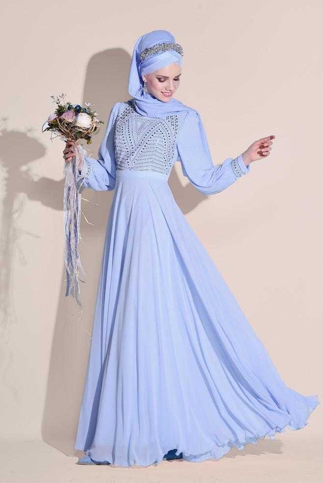 Alvina Balon Kol Tesettür Abiye Elbise Modelleri