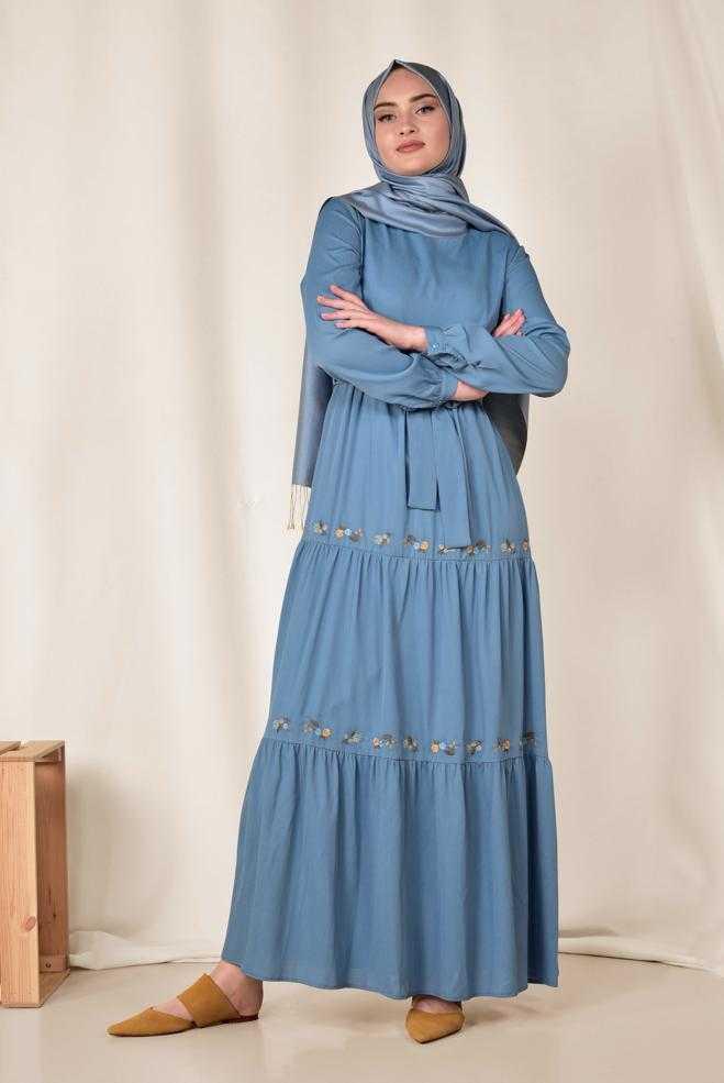 Alvina Nakışlı Tesettür Elbise Modelleri