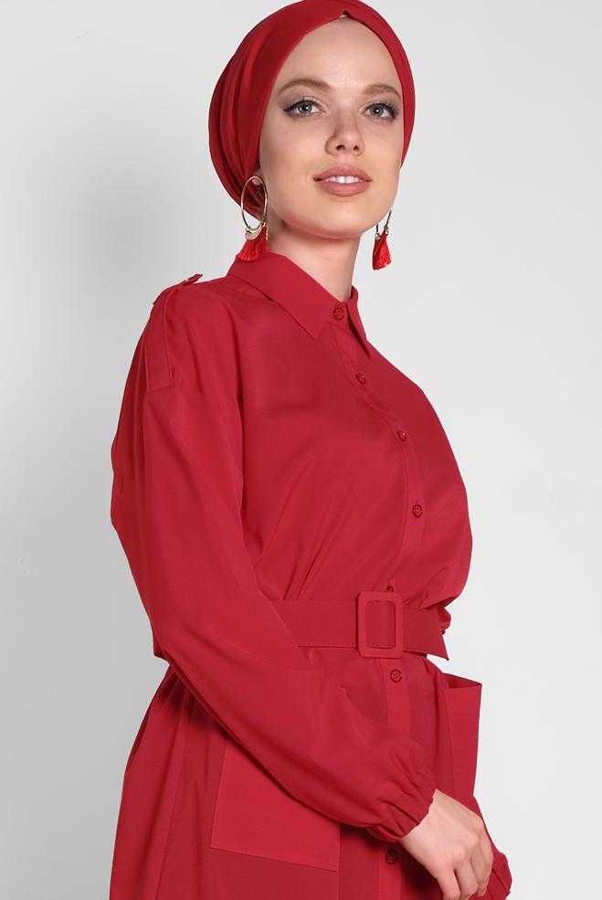 Alvina Tesettür Kırmızı Tunik Modelleri
