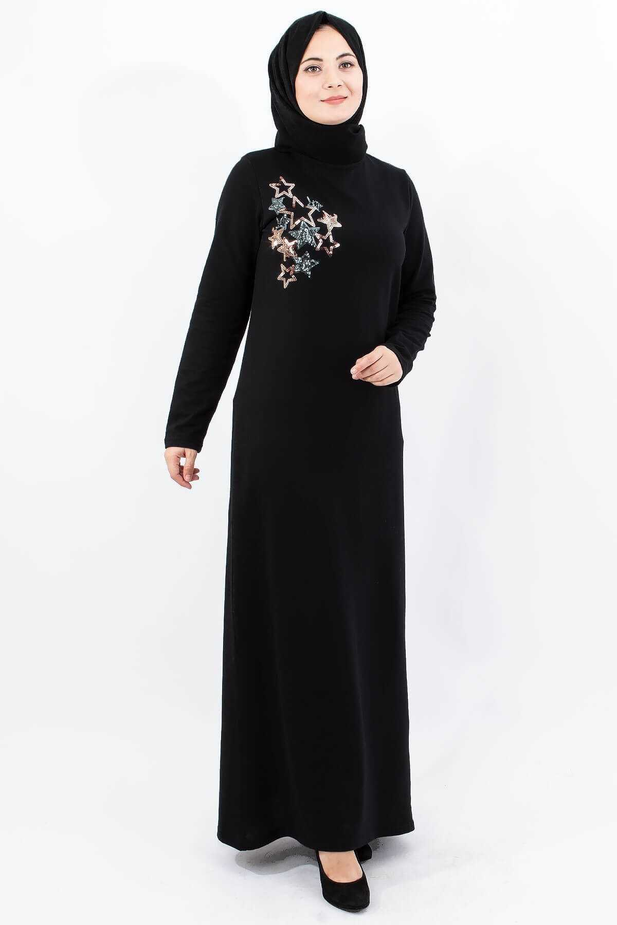 Bahyezen Nakışlı Tesettür Elbise Modelleri