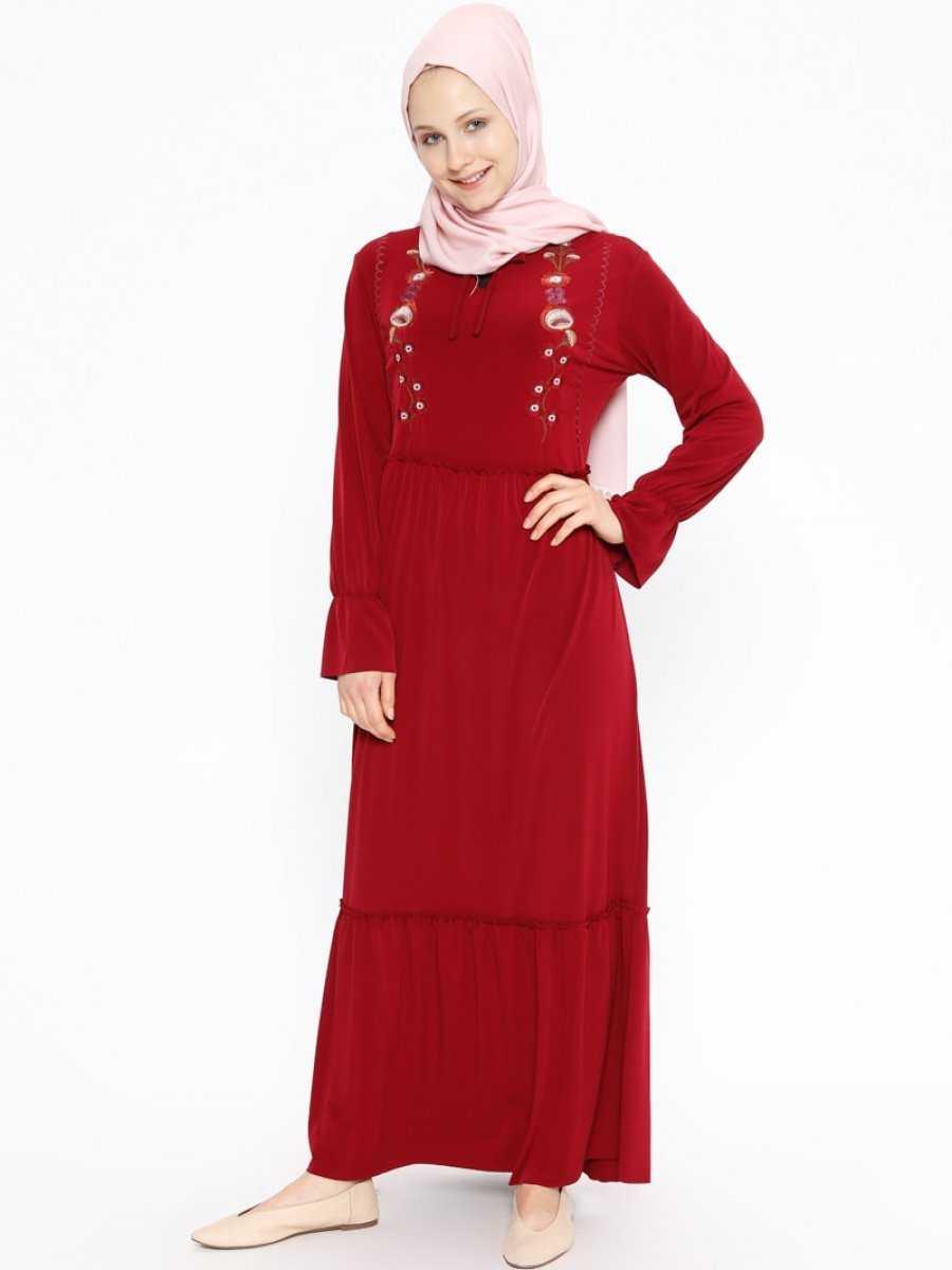 Beha Nakışlı Tesettür Kırmızı Elbise Modelleri